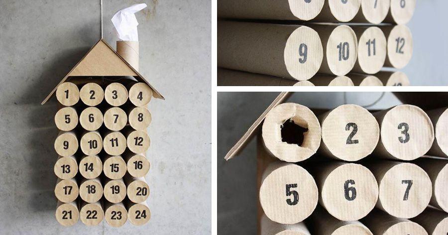 Calendario Avvento Con Rotoli Carta Igienica.Calendario Dell Avvento Realizzato Con I Rotoli Di Carta