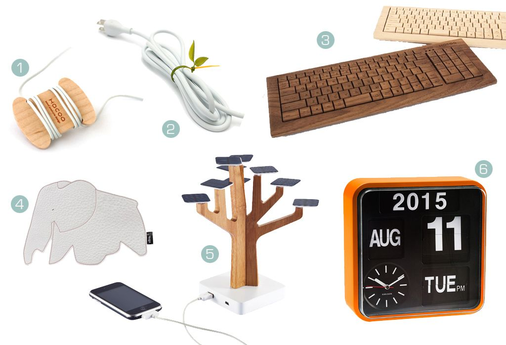/1/ Wire spool - Hacoa /2/ Leaf tie - Lufdesign /3/ wooden keyboard - Hacoa /4/ Elephant mouse pad - Vitra /5/ Solar charging station - XD Design /6/ Mini flip clock orange - Karlsson / study essentials computer gadgets high tech design interior stationary