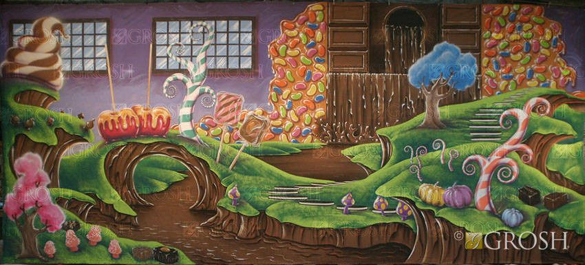 Chocolate Factory Interior Stage Backdrop | Willy wonka ...