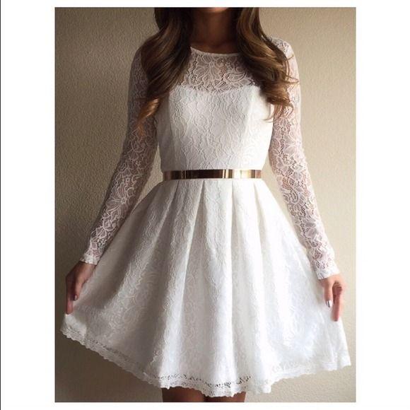 196d643327 Dresses   Skirts - White lace skater dress
