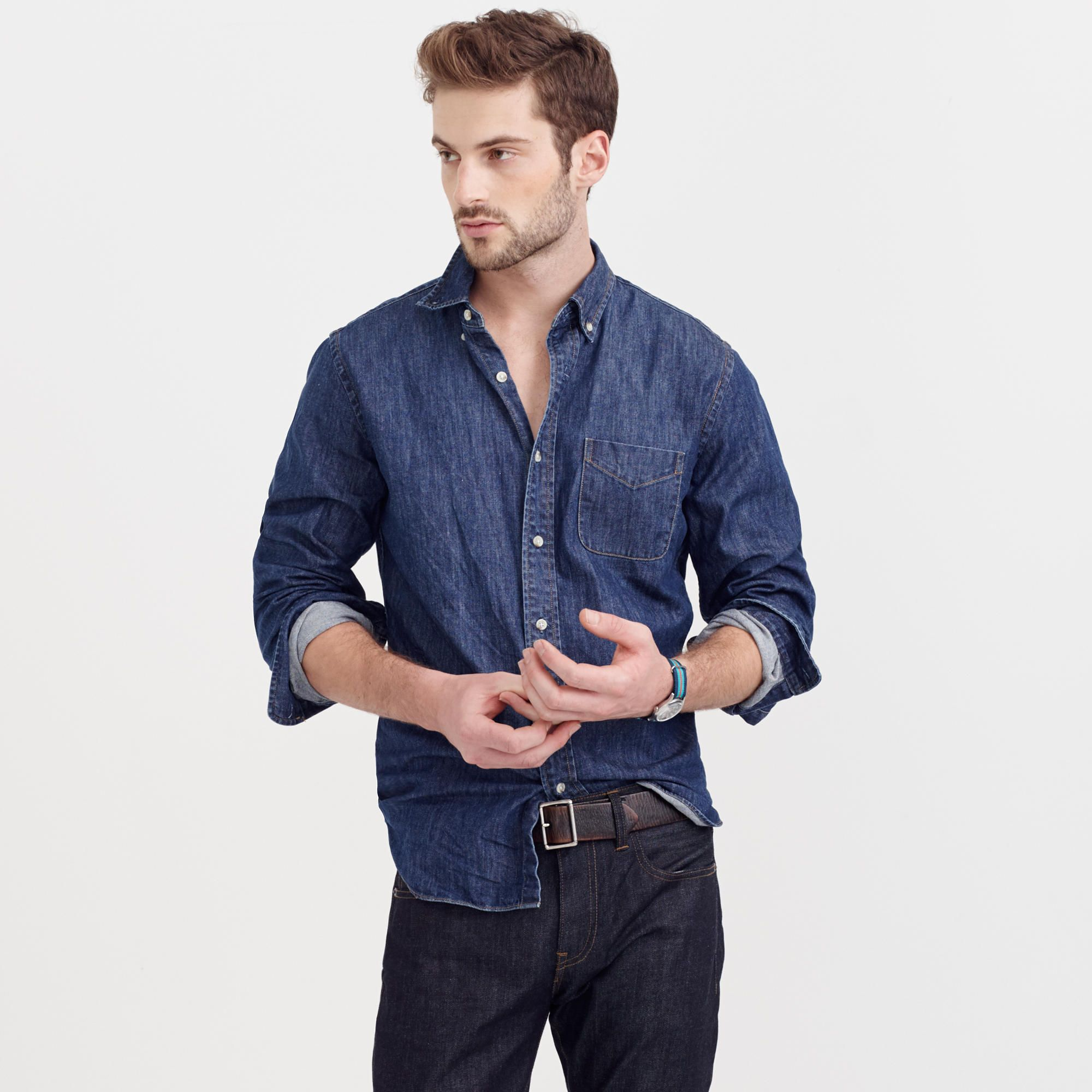 92f3ad9dc8 Shop the Slim Midweight Denim Shirt at JCrew.com and see our entire  selection of Men s Shirts.