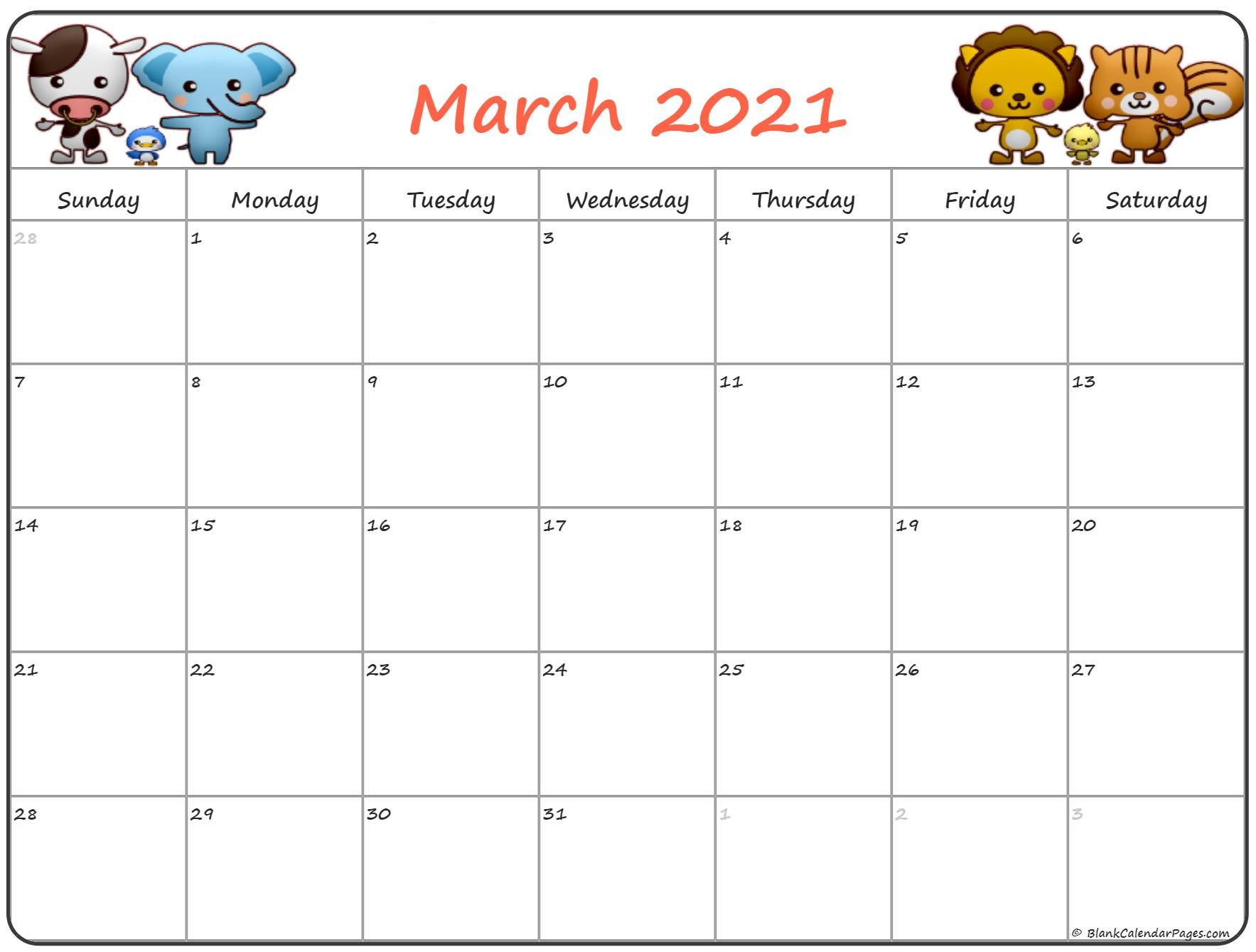 March 2021 Calendar Cute Cute March 2021 Calendar in 2020 | Kids calendar, Calendar