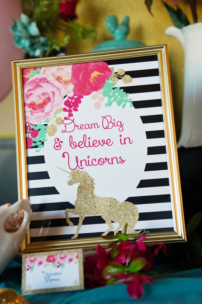 Gold unicorn printable from Glamorous Unicorn Birthday Party at Kara's Party Ideas. See the whole party at karaspartyideas.com!
