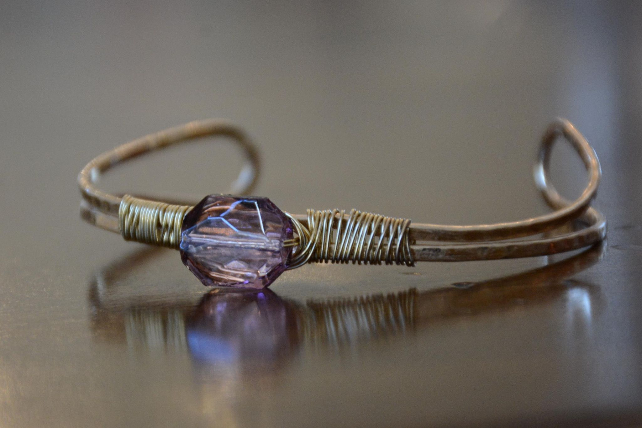 Wire Wrapped Stone Bangle