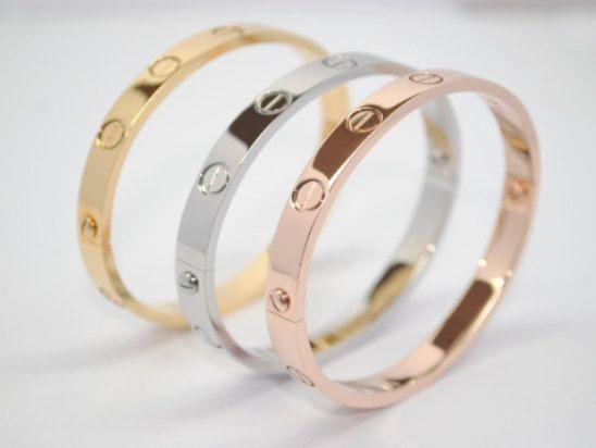 With Screwdriver New Model Screw Detail Love Bracelet Silver Gold Silver And Rose 316l Titanium Stainl Love Bracelets Stainless Steel Bracelet Bangle Bracelets