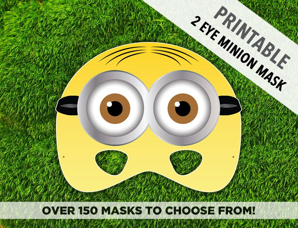 Halloween Mask Paper Masks Printable Mask Minion Mask Two Eye Minion Movie Mask For Kids Cartoon Yellow Parties Photo Booth Kids Minion Mask Minions Minion Birthday Party