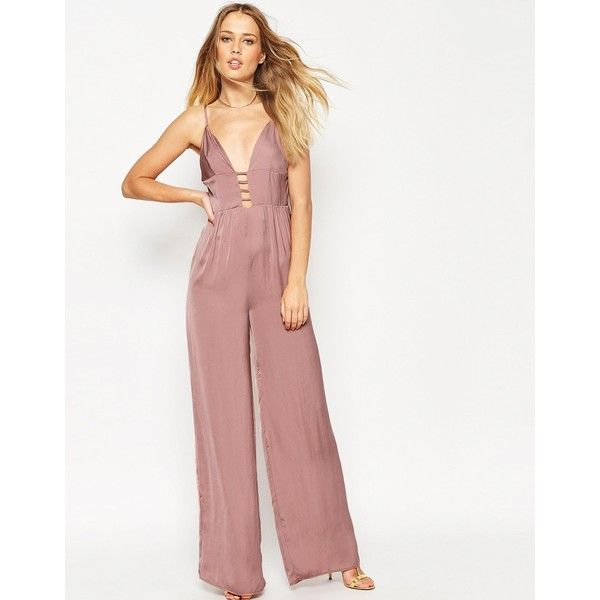 70ad6ceeec54 ASOS Jumpsuit In Satin With Multi Strap Front ( 57) ❤ liked on Polyvore  featuring jumpsuits