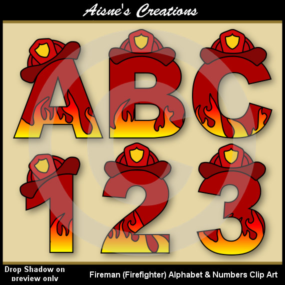Fireman (Fire Fighter) Alphabet Letters & Numbers Clip Art ...