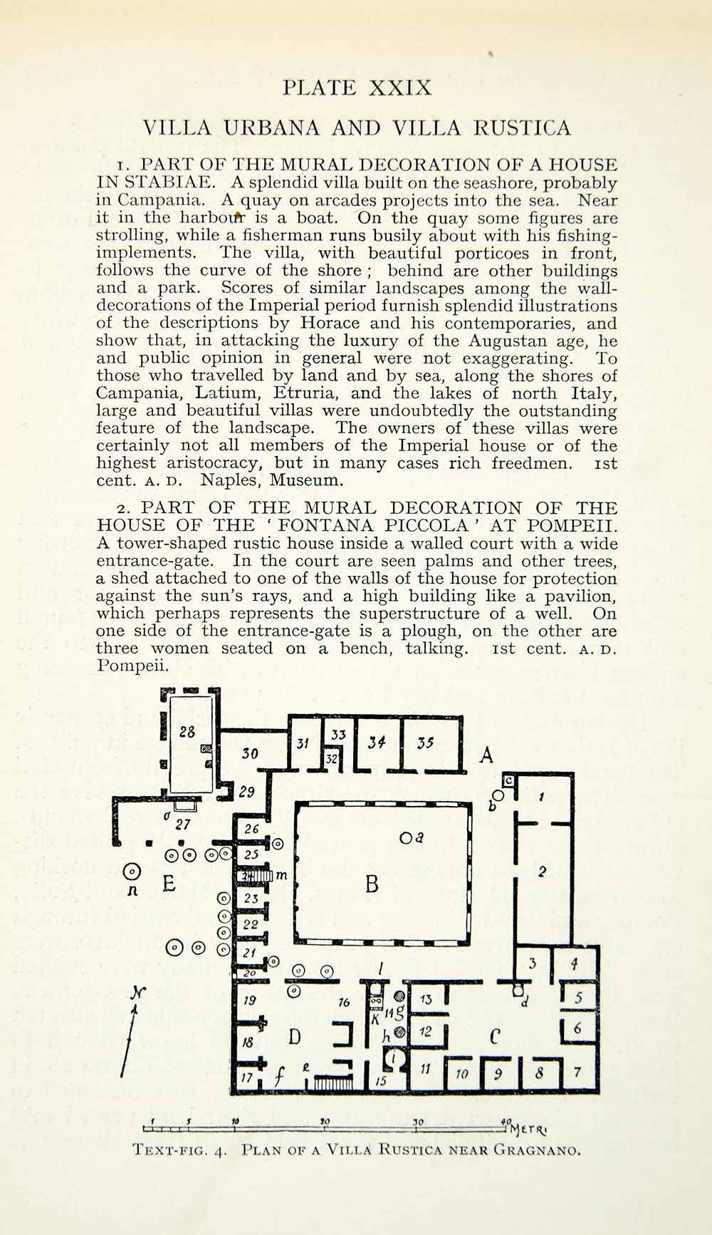 1927 Print Villa Rustica Architecture Floorplan Roman Archaeology Grag Roman Villa Roman House Villa