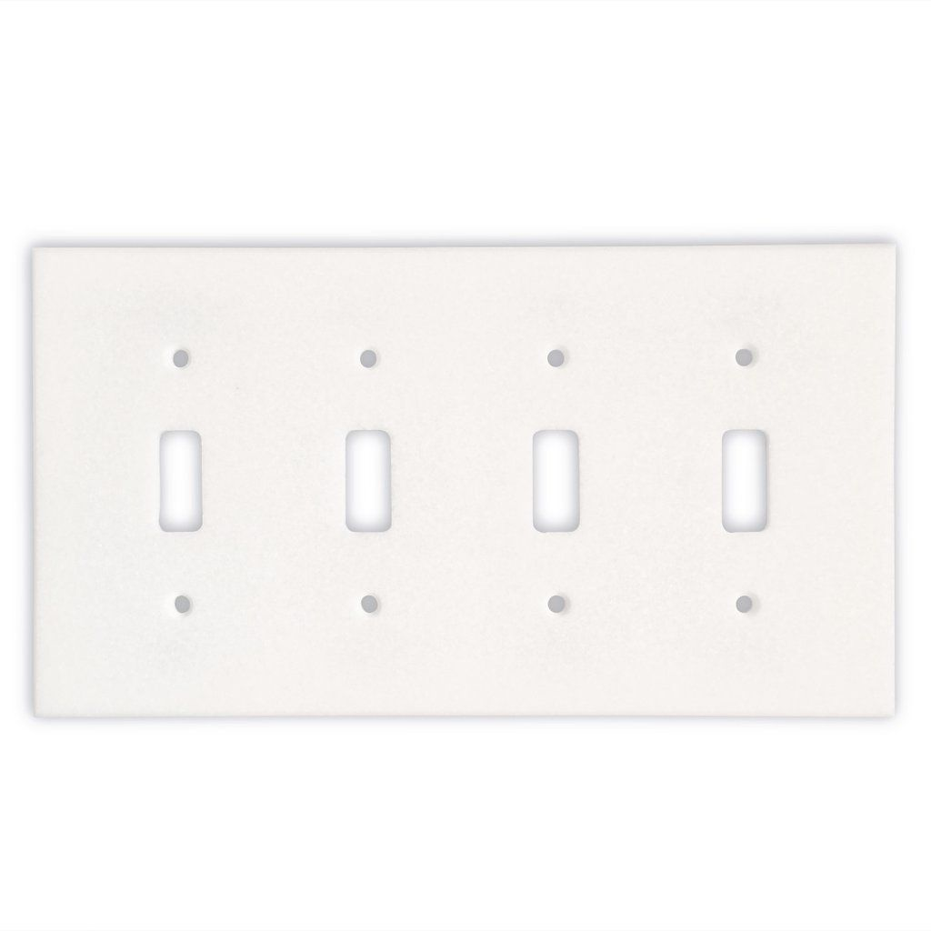Thassos White Marble Quadruple Toggle Switch Wall Plate