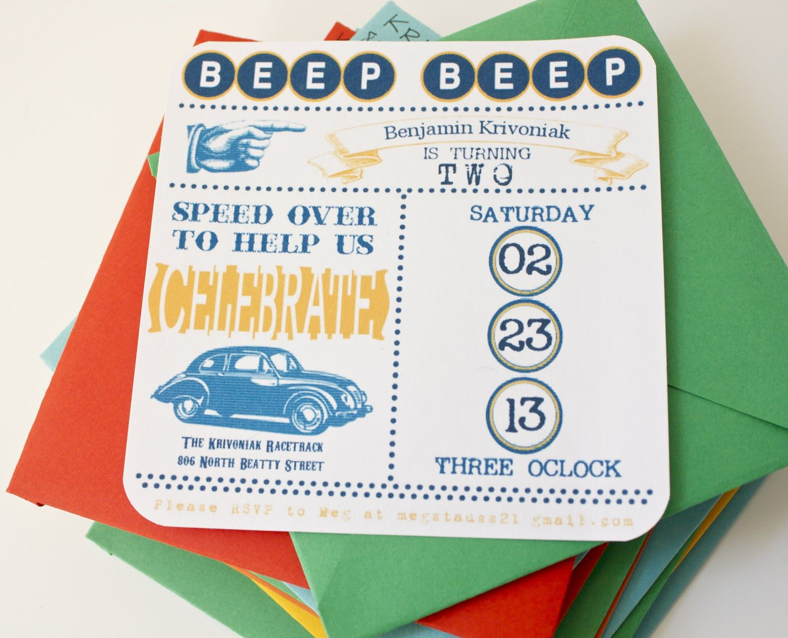 vintage car birthday party invitations | So here are some of the DIY ...