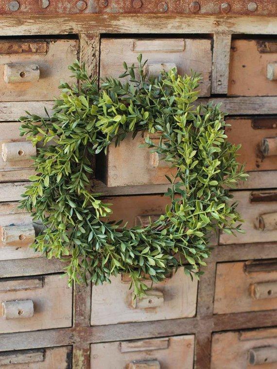 "9"" Boxwood Candle Ring Wreath, Farmhouse Boxwood Wreath"