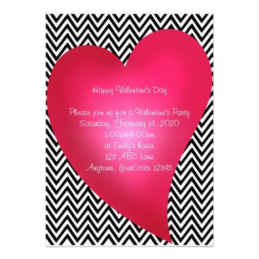 Chevron Heart Valentine\u0027s Day Party Invitation Valentines Day - 's day party invitation