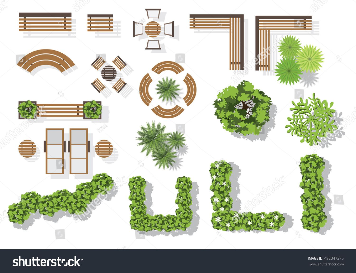 Set Of Vector Wooden Benches And Treetop Symbols