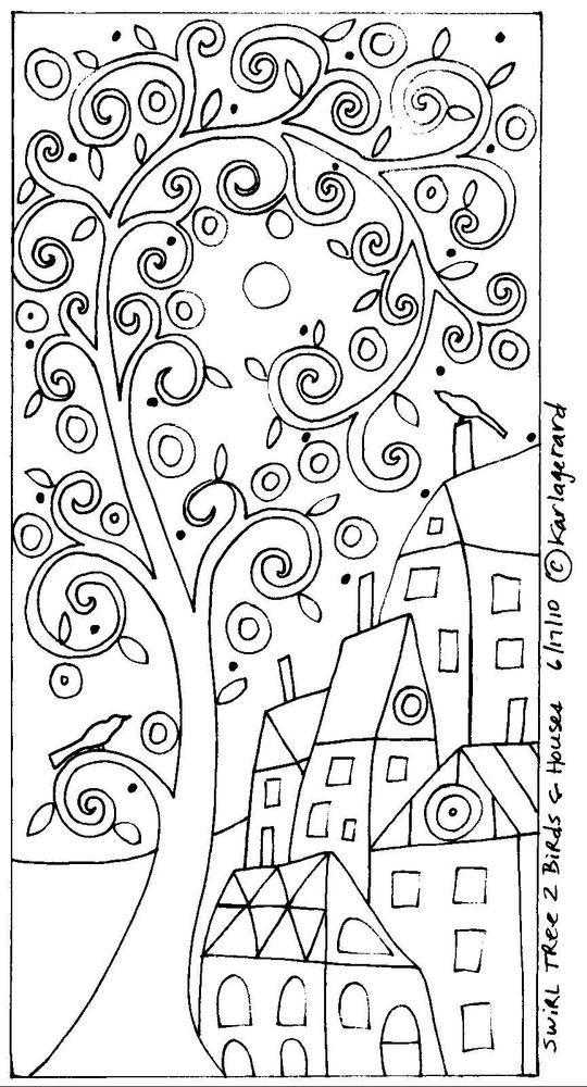 details about rug hook craft paper pattern swirl tree 2 birds and houses folk art karla gerard adult coloring pagescoloring