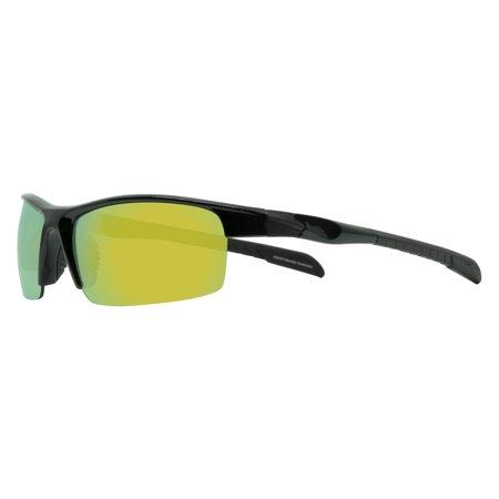 8161511d5e77 Eclipse Men s Black Sport Wrap Sunglasses with Red Yellow Lenses ...