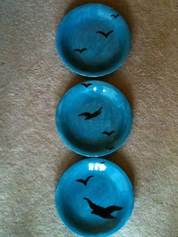 Set of 3 black Bird Plates by BeamiesDreamies on Etsy, $60.00