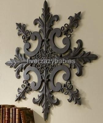 Large Horchow Outdoor Ornate Wall Medallion Art Decor Plaque Patio Garden Metal Wall Medallion Large Wall Decor Metal Wall Medallion
