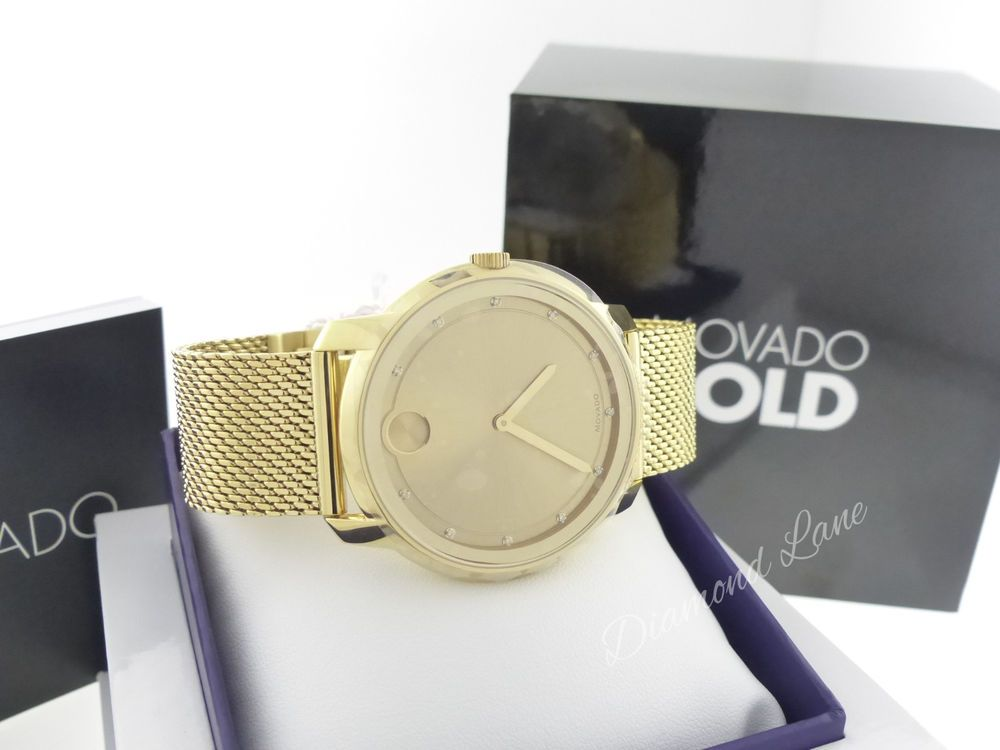 c61c921e3 Movado BOLD Large 44MM Yellow Gold Ion-plated Diamond Swiss Watch 3600460 # Movado