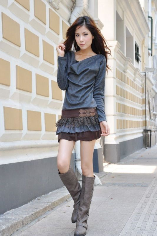 Korean Spring Fashion Long sleeve ruffle dress