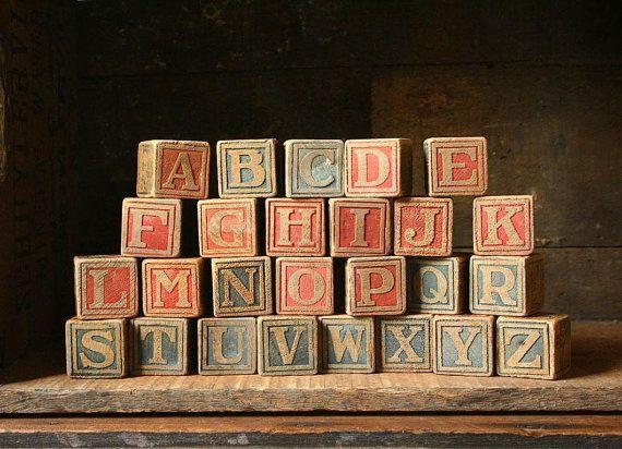 Antique toy blocks Alphabet A to Z