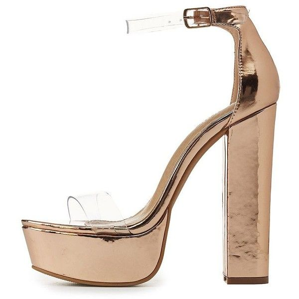 62f82b9cb10 Charlotte Russe Clear Two-Piece Platform Sandals ($19) ❤ liked on ...