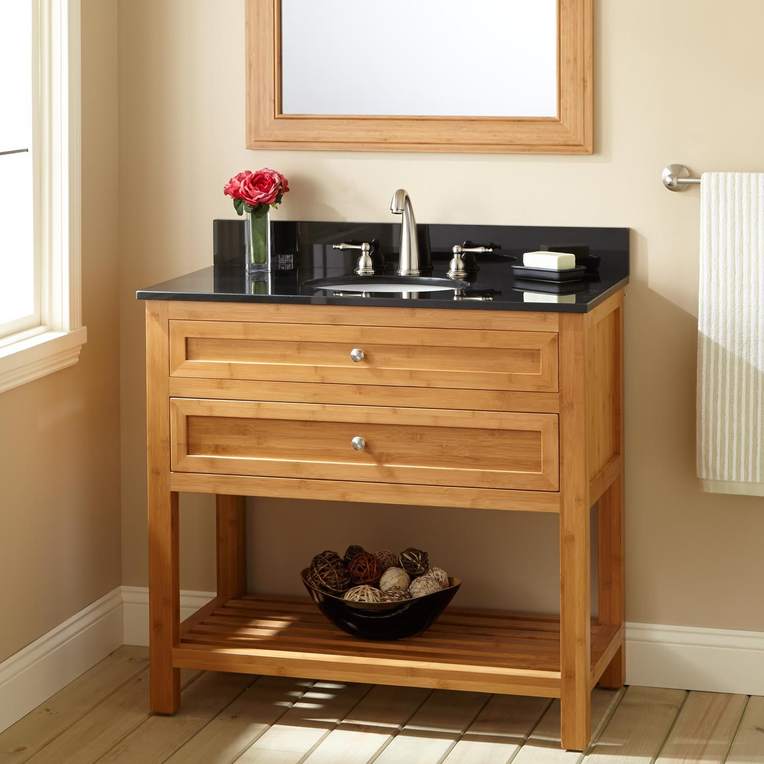 "30"" Narrow Depth Miles Bamboo Vanity for Undermount Sink"