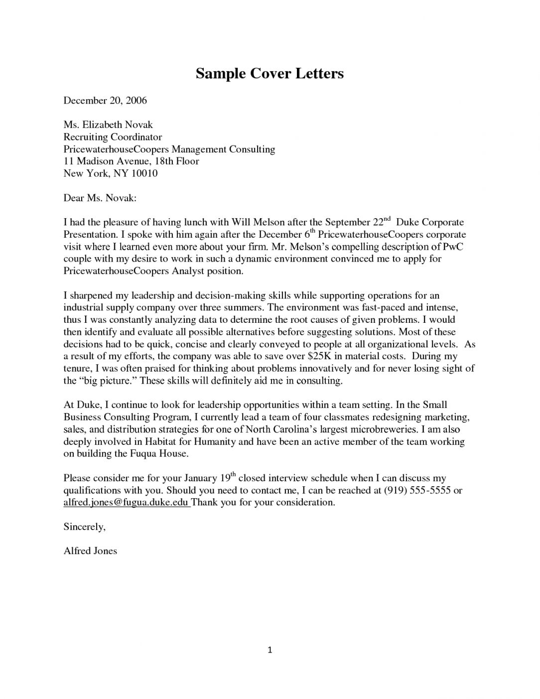 Cover Letter Template Consulting Consulting Cover Coverlettertemplate Letter Template Cute766