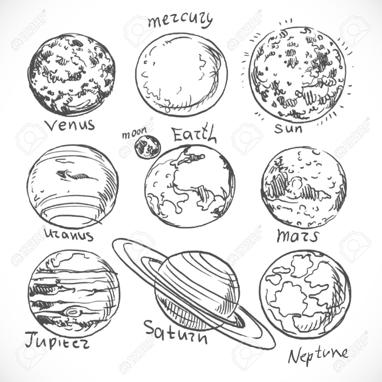 Doodle Planets Of The Solar System Isolated On