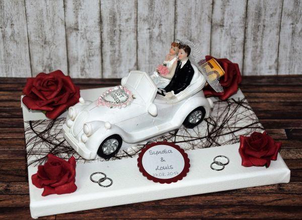 Geld Geschenk zur Hochzeit mit Spardose Auto  in rot braun  personalisiert  hochzeit