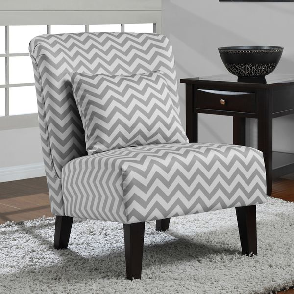Bon Anna Grey/ White Chevron Accent Chair   Overstock™ Shopping   Great Deals  On Living Room Chairs