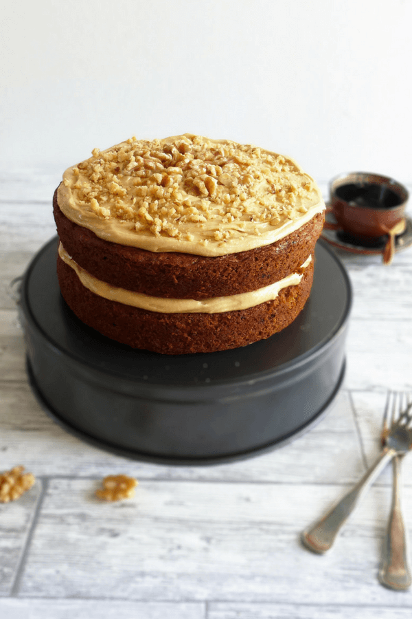 Coffee And Walnut Cake With Coffee Cream Cheese Buttercream Frosting