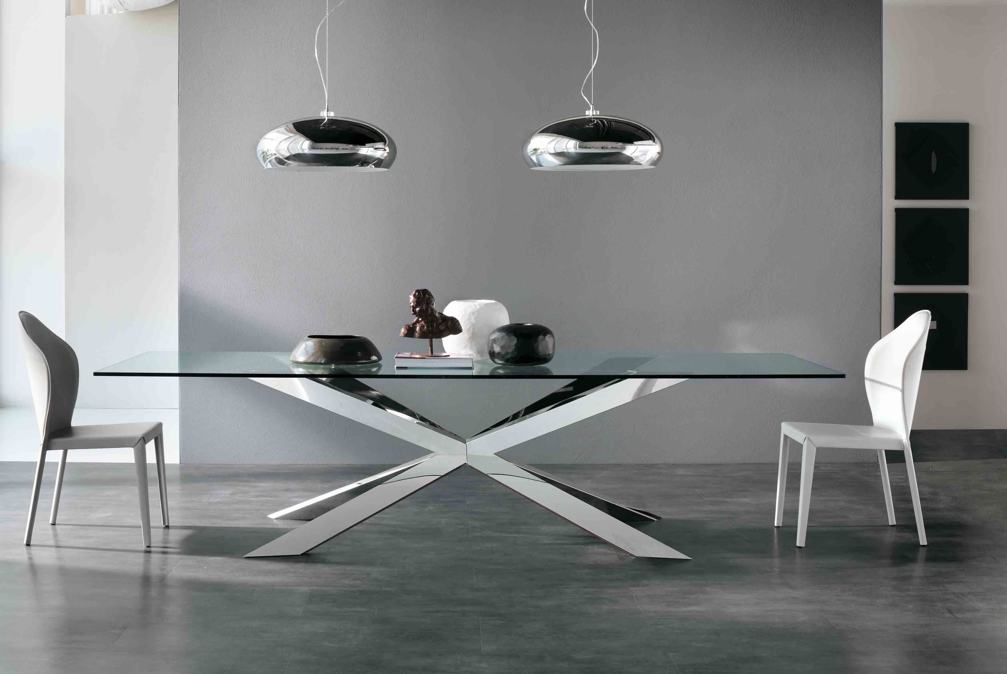 Awesome Glass Top Dining Table Decor With X Chrome Metal Pedestal Base
