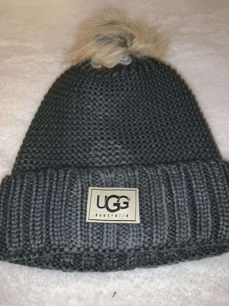 b8f33c7d90de0 NWT Gray UGG Womens Solid Ribbed Fleece Lined Winter Beanie Hat With Pom  Pom  fashion  clothing  shoes  accessories  womensaccessories  hats (ebay  link)