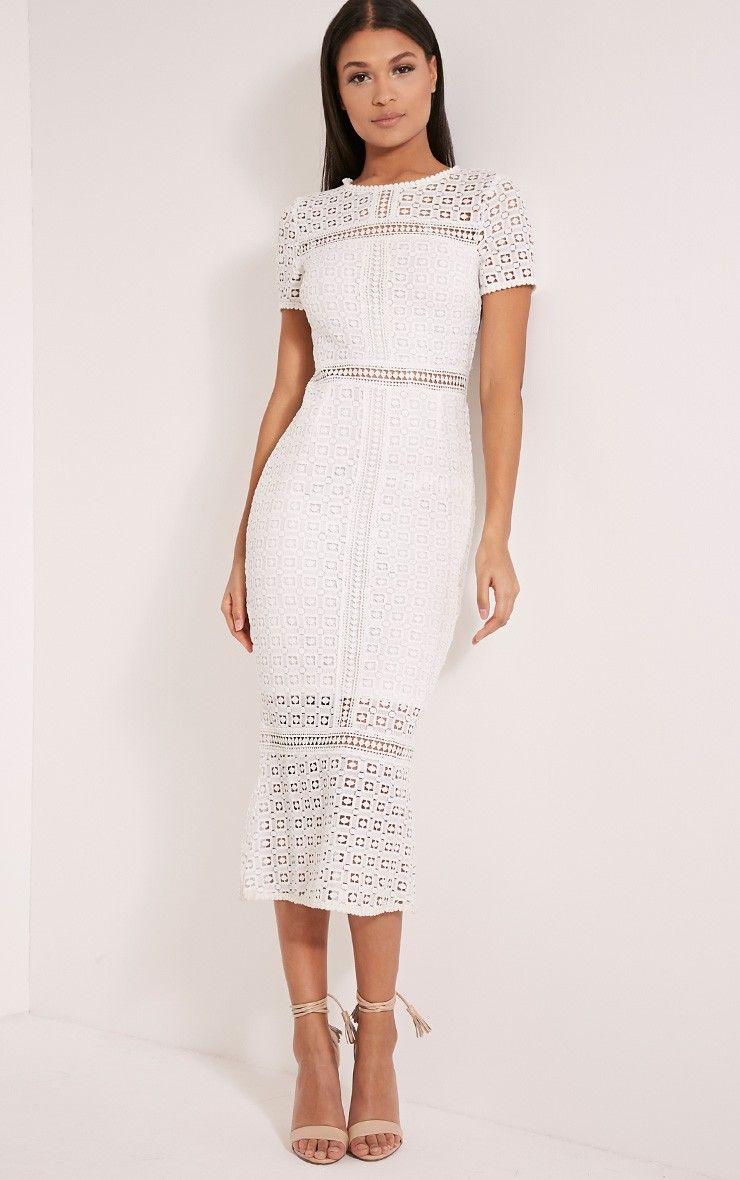 White dress crochet - Midira White Crochet Lace Midi Dress Image 1