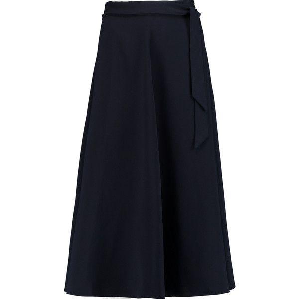 Iris and Ink Marissa tie-waist crepe midi skirt (11.560 RUB) ❤ liked on Polyvore featuring skirts, navy, tie waist skirt, calf length skirts, pleated midi skirt, navy skirt and crepe skirt