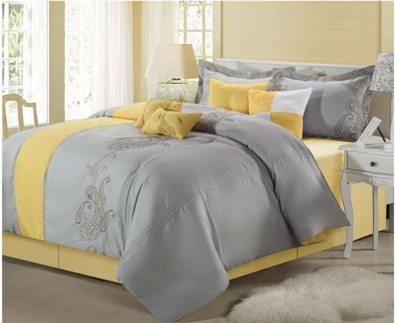 Comforter Sets, Yellow And Gray Paisley Bedding