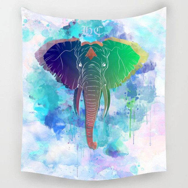 Giraffe & Elephant Tapestry Wall Art