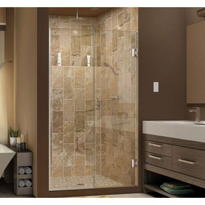 "DreamLine Unidoor Plus 56.5"" x 72"" Hinged Shower Door Trim Finish: Oil Rubbed Bronze, Glass Type: Half Frosted Glass"