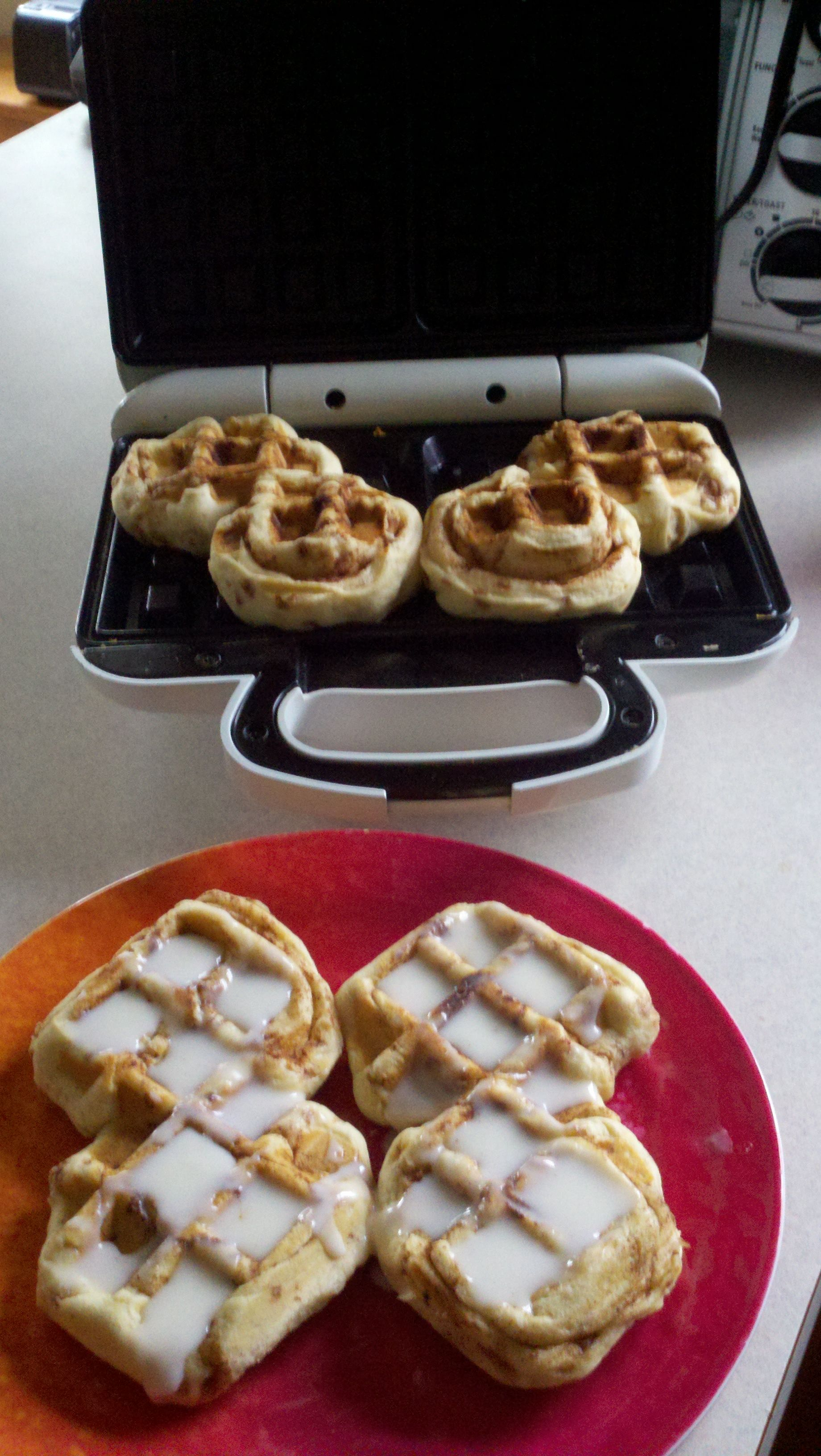 Canned cinnamon rolls, in a waffle maker.