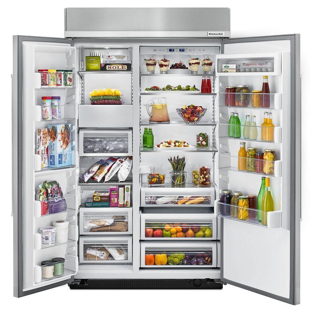 Kitchenaid 30 cu ft builtin side by side refrigerator
