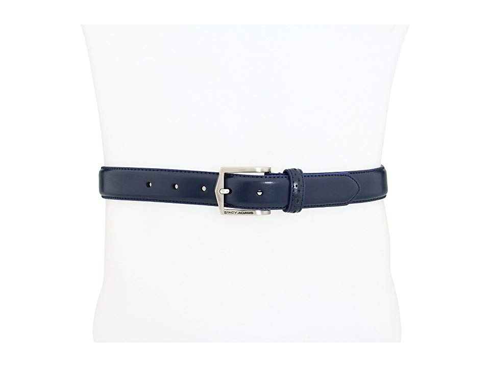 Stacy Adams 087 Navy Mens Belts Looked polished and put together with this belt from Stacy Adams Belt made of smooth leather Single prong buckle Perforated belt loop Impo...