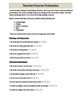 Danielson Aligned Teacher Evaluation By Students  Teacher