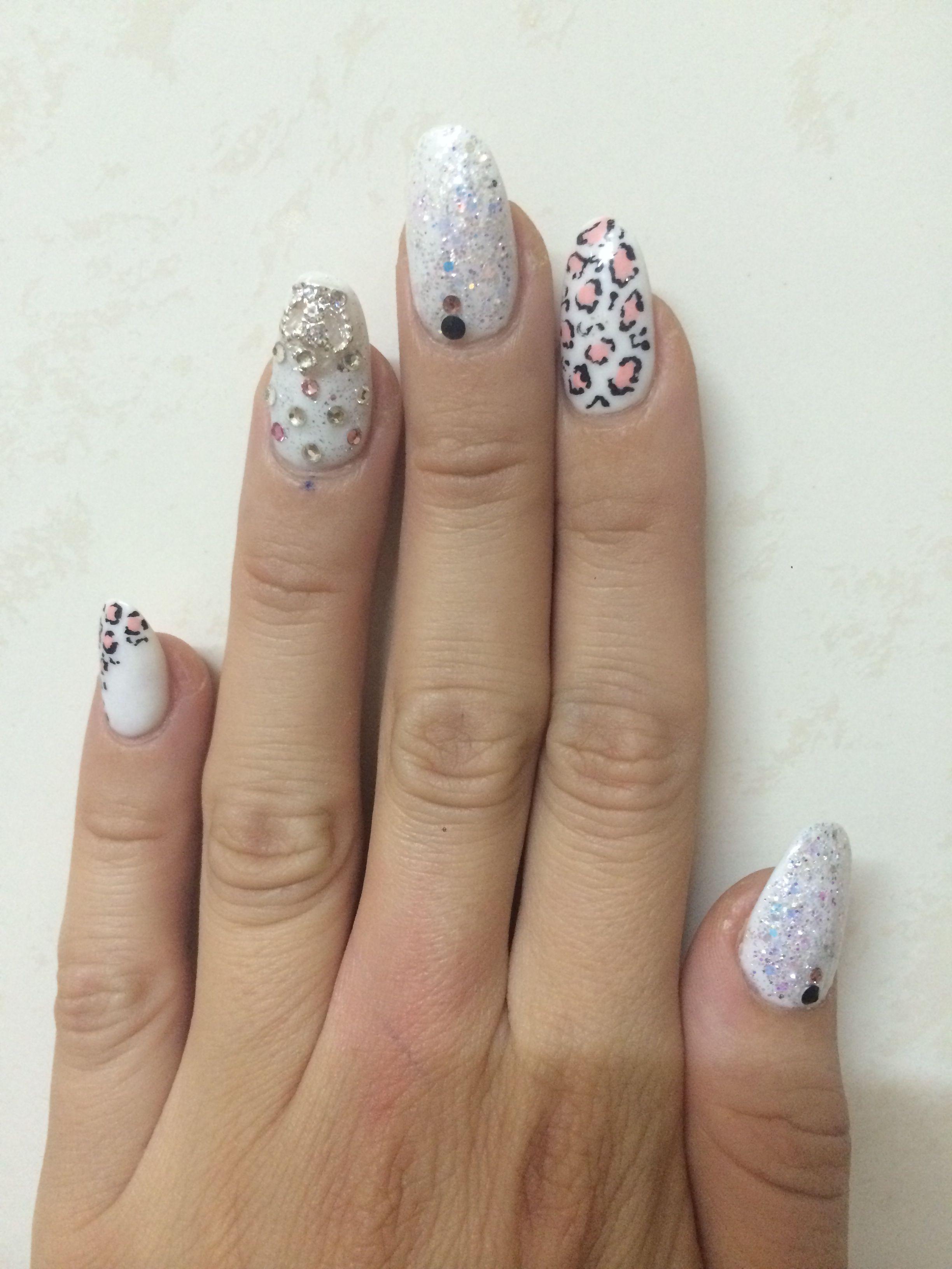 Acrylic nail design, oval nails , white nail polish | Nail design ...