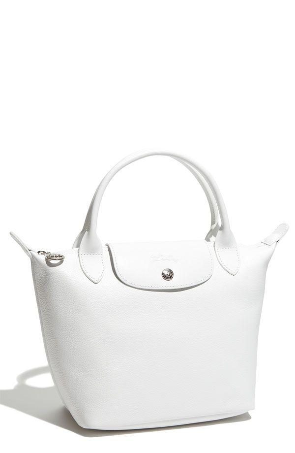 c281f8d3aa2d Longchamp White Leather Le Pliage Mini Handbag - Cerca con Google ...