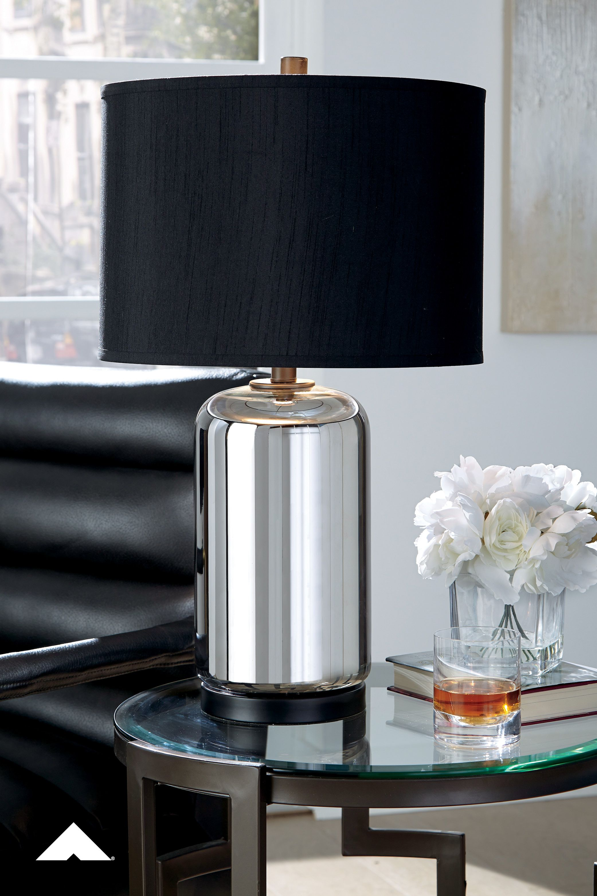 Marinda Silver Finish Glass Table Lamp By Ashley Furniture Crafted With Luminous Mercury Glass This Table Lamp In 2020 Table Lamp Sets Silver Table Lamps Lamp Sets