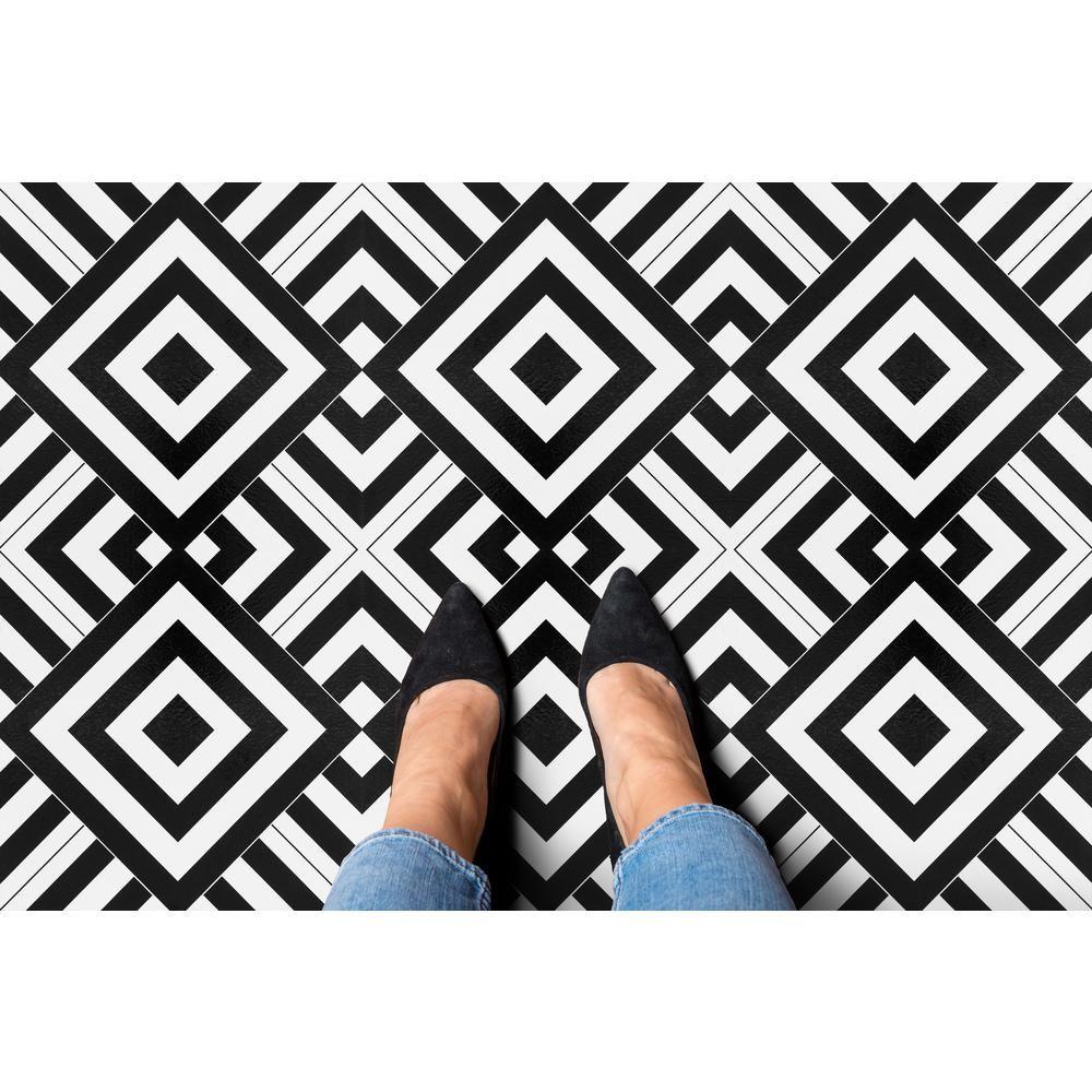 Achim Retro Geometric 12 In X 12 In Self Adhesive Vinyl Floor Tile 20 Tiles 20 Sq Ft Rtftv60420 The Home Depot Vinyl Flooring Vinyl Tile Vinyl Tile Flooring