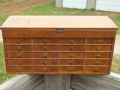 Vintage Jewelers Watchmakers Small Parts Wooden Cabinet 20 Drawer