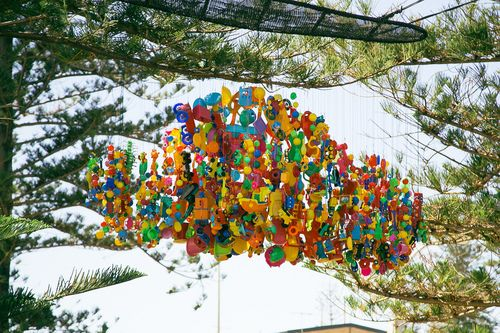 ztreetartblog:    sculpture made with toys by the sea@ Perth/Australia, photo by:jinnstagram