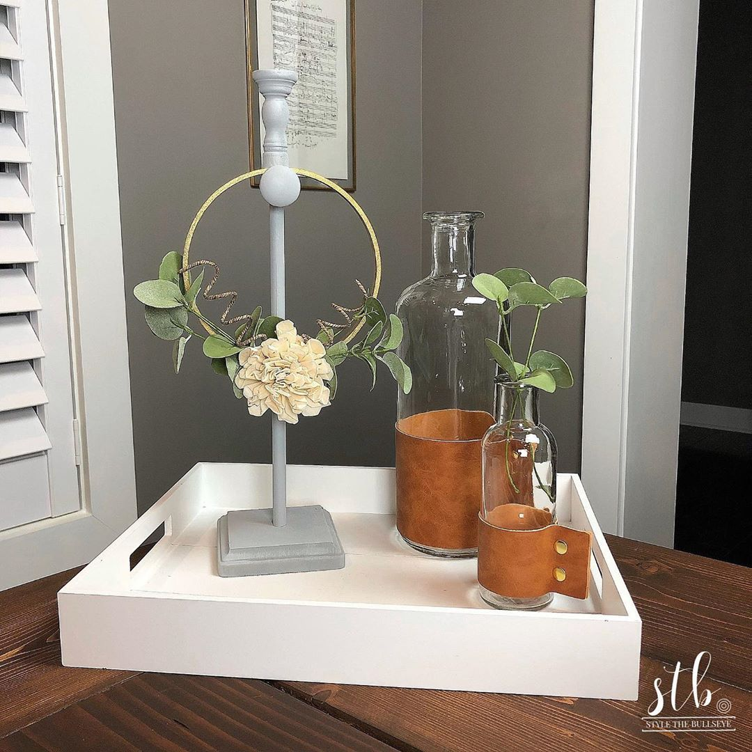 Stylethebullseye On Instagram This Cute Tabletop Wreath Stand Was Less Than 5 To Make I Love It With A Mini Wreath But I Wreath Stand Mini Wreaths Wreaths